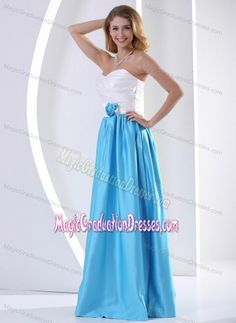 Ruched Hand Made Flower White and Aqua Blue Corvallis Grad Dress