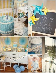 Vintage Yellow And Blue Birthday Party Planning Ideas Supplies Ideavi