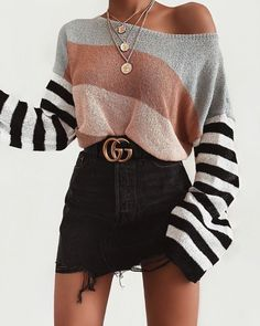 Striped arm knit sweater - Hand Knit color set women sweater - Wool yarn knit s. Striped arm knit sweater - Hand Knit color set women sweater - Wool yarn knit sweater - Arm Knitti Always aspired to fig. Teen Fashion Outfits, Look Fashion, Hipster Fashion, Gucci Outfits, Womens Fashion, Fashion Ideas, 90s Fashion, Gucci Fashion, Fashion Trends
