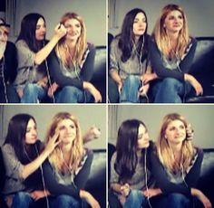 Natasha wiping away Elise's tears