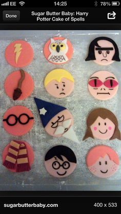 Sugar Butter Baby: Harry Potter Cake of Spells Harry Potter Cupcake Toppers, Harry Potter Cupcakes, Fondant Cupcakes, Cupcake Cakes, Potter Puppet Pals, Sugar Craft, Harry Potter Characters, Themed Cakes, No Bake Cake