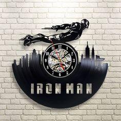 Handmade Vinyl Record Marvel Comics Superhero Iron Man Wall Clock Retro Wall Clock Iron Man Marvel Comics Gift Ideas Birthday Gift For Fan by DikoGifts on Etsy Vinyl Record Clock, Record Art, Vinyl Records, Marvel Room, Marvel Comics Art, Iron Man, Vynil, Marvel Gifts, Diy Upcycling