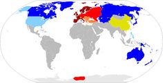 Here is the world in 1964, according to the alternate history novel Fatherland, which was based on the premise that Germany won Word War Two. The Greater German Reich is shown in red, the European Union representing Nazi allies and subject races in maroon, colonial possessions in orange, US possessions and allies in blue with neutrals in yellow.