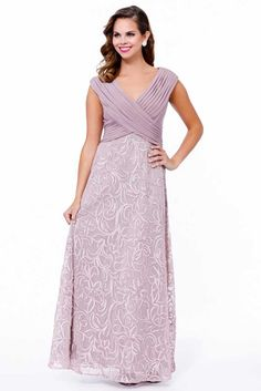 Mother of Bride Gown NX5122. Full Length Mother of the Bride Evening Gown with Solid Color Pleated Bodice featuring V Neckline and Zipper Back Closure, Floral Design Appliqued Skirt Overlay. https://www.smcfashion.com/wholesale-mother-of-bride-dresses/mother-of-bride-gown-nx5122