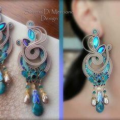 Ribbon Jewelry, Fabric Jewelry, Art Deco Jewelry, Wire Jewelry, Beaded Jewelry, Jewelery, Jewelry Design, Bridal Earrings, Beaded Earrings