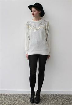 Vintage 80's White Silver Sequin Christmas Jumper