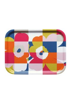 Marimekko Ruutu-Unikko Black Small Tray Serve up style on an updated classic. Maija Isola's iconic Unikko pattern is merged with a Ruutu (Check) motif as part of a mod reinterpretation by her granddaughter, Emma. Made out of plywood and fabr. Small Tray, Small Plates, Marimekko Fabric, Black Tray, Poppy Pattern, Scandinavian Interior, Fabric Swatches, Up Styles, Bold Colors