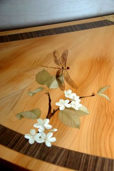 """Marquetry """"Dragonfly and Cherry blossoms"""" for a commode. Made with Shaw  Riley www.shaw-riley.co.uk"""
