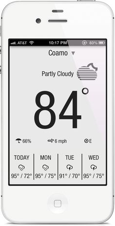 Nice weather app design. The black/white-style is quite unusual for this kind of apps, but it seems that it also works out fine without colours.