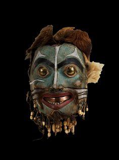 Hallowe'en is a reminder that the modern age swept aside beliefs in whole pantheons of natural deit. Native American Masks, Native American Artifacts, Arte Inuit, Tlingit, Supernatural Beings, Halloween 1, Masks Art, Indigenous Art, Art Themes