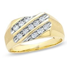 Men's 0.50 CT. T.W. Diamond Three Slant Row Luxury Fit Wedding Band in 10K Gold  - Peoples Jewellers