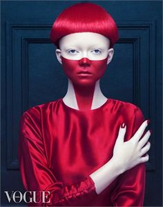 futuristic look, future fashion, make up, red hair, girl in red, vogue