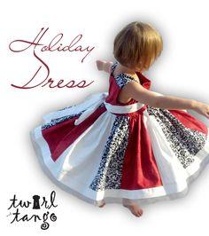 Girls Holiday  Red Damask White Knot Twirl Dress by TwirlandTango, $68.00