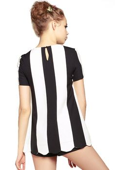 Black and White Vertical #Stripes Scallop Top with Shorts (back view) // what a designer wears #wearabledesign #designtrend