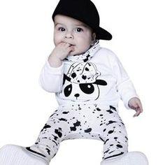 Baby Clothes Boys Girls 2017 Cute Cotton Long Sleeved Jacket Panda Pants Set Children Clothing Costume For Kids Vestido Infantil