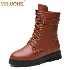 dd0dd01a3fb Winter Boots Women Plush Warm Ankle Boots For Women 2018 Winter Shoes Women  Platform Brown Black