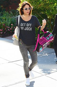 "We're beyond obsessed with Bethenny Frankel's ""Get Off My Jock"" tee, not to mention her matte clear shades!"