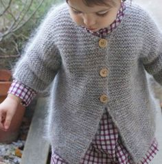 Ravelry: Gilet point mousse une pièce pattern by 22 rue Ter Knitting For Kids, Baby Knitting, Baby Patterns, Knitting Patterns, Point Mousse, Baby Cardigan, Toddler Cardigan, How To Purl Knit, Baby Sweaters