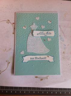 """Hochzeitkarte mit dem Set """"Zum schönsten Tag im Leben"""" in den Farben Aquamarine und Petrol"""