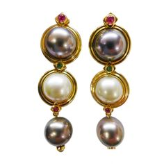 Yellow Gold Repossi Earrings made with Pearls Rubies and Emeralds  | From a unique collection of vintage drop earrings at http://www.1stdibs.com/jewelry/earrings/drop-earrings/