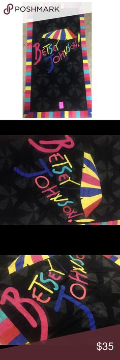 "Betsey Johnson umbrella beach towel black colorful 35""x66"". Betsey Johnson beach towel black with colorful boarder umbrella design red blue green yellow orange Betsey Johnson Accessories"