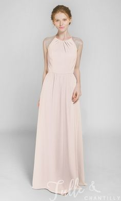 5a8a29f1f Graceful Long Chiffon Bridesmaid Dress with Lace Back TBQP369. Dusty Blue  Bridesmaid DressesFull ...