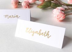 Gold Place Card Lettering - Embossed Cards Included - Handlettered First Name Cards for Weddings, Events, Reception, Dinners