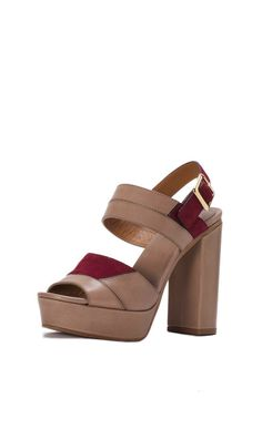 CHLOE open toe heels features  Leather and a Suede Platform Buckle  in a brown color with burgundy and gold accents. Elevate your street style look with these! #trendy