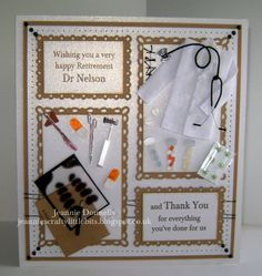 Retirement and Thank you Card for a Doctor - This is a bit different for me as I don't normally use stickers but I thought this pack from #Jolees was very apt in this case, dies from #Spellbinders #Romantic Rectangles
