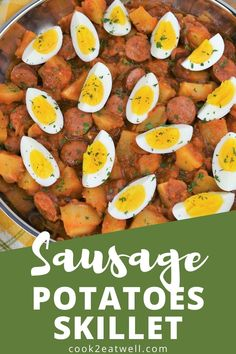 This sausage and potatoes skillet is easy, affordable and delicious, a winning combination for weeknight dinner! In this recipe, fully cooked sausage is simmered in a flavorful tomato sauce with potatoes. Then, to make it extra filling, it's topped with hard boiled eggs. Serve this meal with crackers or bread to soak up the delicious sauce. This is a no-fuss comfort food meal that's perfect for tight-budgets and cold nights!