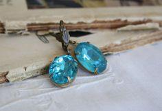 Large Vintage Blue Glass Jewel Earrings. Estate by ReyesRobledo. $20