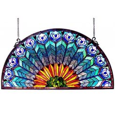 Chloe Peacock Design Half Round Stained Glass Window Panel - Free Shipping Today - Overstock.com - 16098364 - Mobile