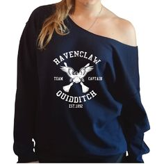 Amazon.com: Harry Potter Inspired Ravenclaw Quidditch Slouchy Oversized Sweatshirt: Clothing