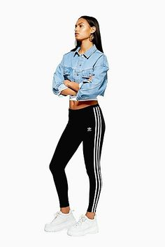 214ce103a9267c Womens Three Stripe Leggings By Adidas Originals - Black