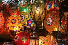 Turkish Lamps in the Istanbul bazaar - Jenny Bowker  I just ordered a custom lamp like this!