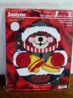 "NEW Janlynn Plastic Canvas XMAS Bear with Bells Wall Hanging 13 1/2"" x 16 1/4"""