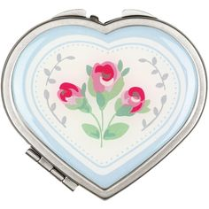 Cath Kidston Tea Rose Stripe Heart Compact Mirror, Blue ($9.97) ❤ liked on Polyvore featuring beauty products, beauty accessories and cath kidston