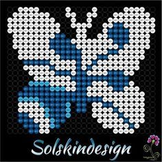 Sommerfugle i Hamaperler - Lad os perle foråret ind Hama Beads Patterns, Craft Patterns, Beading Patterns, Fuse Beads, Pearler Beads, Hama Mini, Butterfly Cross Stitch, Iron Beads, Melting Beads