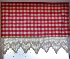 Vintage Curtain Red / White Gingham Fabric & Hand by OLaLaVintage