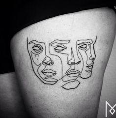 Linear Tattoos by Mo Ganji – Fubiz Media Line Drawing Tattoos, One Line Tattoo, Single Line Tattoo, Body Art Tattoos, Tattoo Drawings, Cool Tattoos, Maori Tattoos, Tatoos, White Tattoos