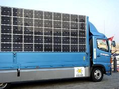 Electric truck with solar panels