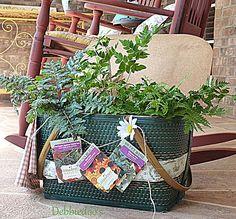 Repurposed vintage picnic basket