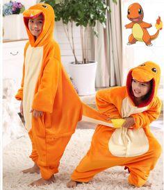 Pokemon Charmander Cosplay Jumpsuit Costume For Children Kids Onesie Clothing For Halloween Carnival