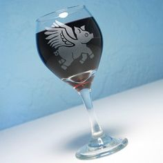 Flying pigs glasses | Home > Products > Flying Pig Wine Glass