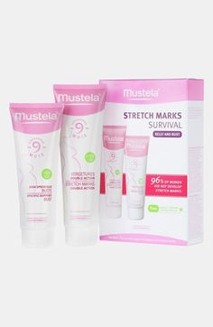 Free shipping and returns on Mustela® 'Stretch Marks Survival' Set at Nordstrom.com. The perfect set for pregnancy and postpartum combines two lotions that help minimize stretch marks and prevent loss of elasticity. Stretch Marks Double Action (5 oz.) helps the skin preserve its elasticity and suppleness, so it's better able to withstand the stretching of a growing belly. Specific Support Bust (4.2 oz) helps keep skin firm, relieve tension and prevent the impact of pregnancy on breast ...