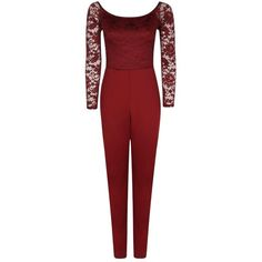 Boohoo Tall Kami Lace Off The Shoulder Jumpsuit | Boohoo (93.485 COP) ❤ liked on Polyvore featuring jumpsuits, patterned jumpsuit, holiday jumpsuits, boohoo jumpsuits, red wide leg jumpsuit and disco jumpsuit