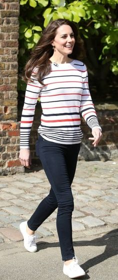 Apr 19-17 To host some of the Team Heads Together racers at Kensington Palace this afternoon, Kate wore a Muvi Pullover from Luisa Spagnoli, her Superga Cotu Classic sneakers, and her Kiki McDonough Citrine Drop earrings.