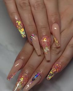 Bling Acrylic Nails, Aycrlic Nails, Best Acrylic Nails, Summer Acrylic Nails, Rhinestone Nails, Bling Nails, Swag Nails, Manicure, Coffin Shape Nails