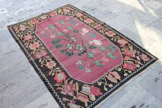 130 cm x 192 cm 4,3 ft x 6,4 ft , karabağ  kilim and  nice brown and pink color KilimTapis,Alfombra,Matta, Kilim,Vintage Kilim Rug