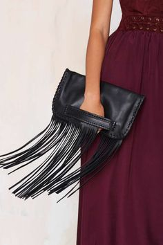 B-low the Belt Totem Leather Fringe Clutch